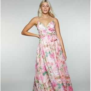 Trixxi Juniors' Floral-Print Belted Crossover Gown